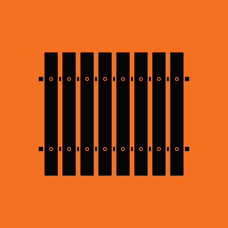 paling: Icon of Construction fence . Orange background with black. Vector illustration.