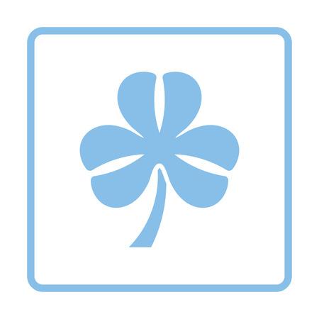 Shamrock icon. Blue frame design. Vector illustration.