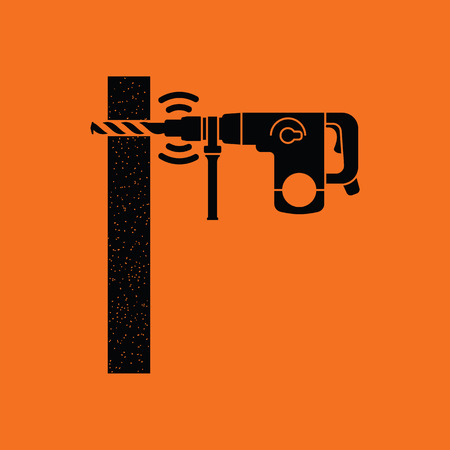 perforator: Icon of perforator drilling wall. Orange background with black. Vector illustration.