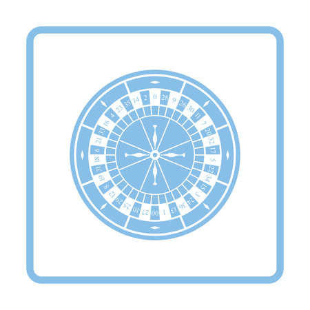 roulette online: Roulette wheel icon. Blue frame design. Vector illustration. Illustration