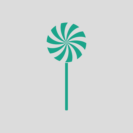 Stick candy icon. Gray background with green. Vector illustration. Illustration