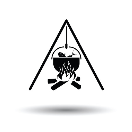 fire icon: Icon of fire and fishing pot. White background with shadow design. Vector illustration. Illustration