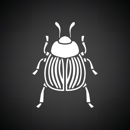Colorado beetle icon. Black background with white. Vector illustration.
