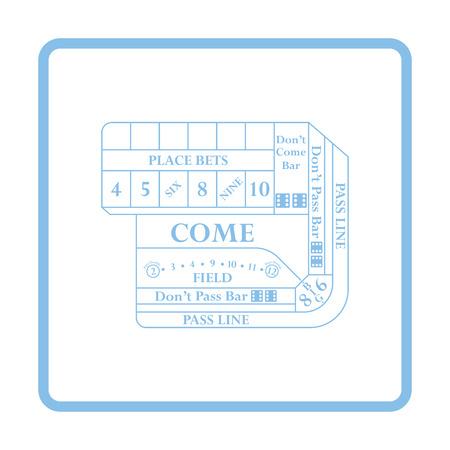 craps: Craps table icon. Blue frame design. Vector illustration.