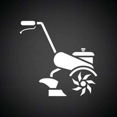 labranza: icono de tim�n jard�n. Fondo negro con blanco. Ilustraci�n del vector.
