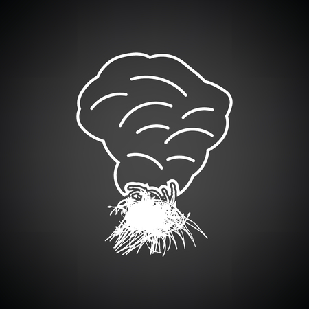 shifting: Sesonal grass burning icon. Black background with white. Vector illustration.