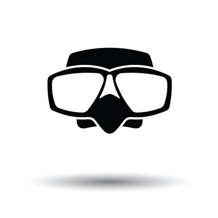 deep sea diver: Icon of scuba mask . White background with shadow design. Vector illustration.