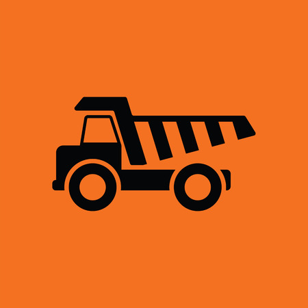 Icon of tipper. Orange background with black. Vector illustration.