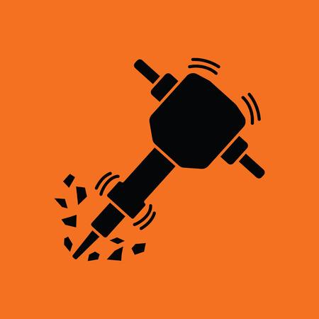 工事の削岩機のアイコン。黒とオレンジ色の背景。ベクトルの図。  イラスト・ベクター素材