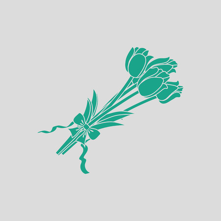 Tulips bouquet icon with tied bow. Gray background with green. Vector illustration. Illustration