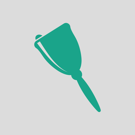 metal drawing: School hand bell icon. Gray background with green. Vector illustration.