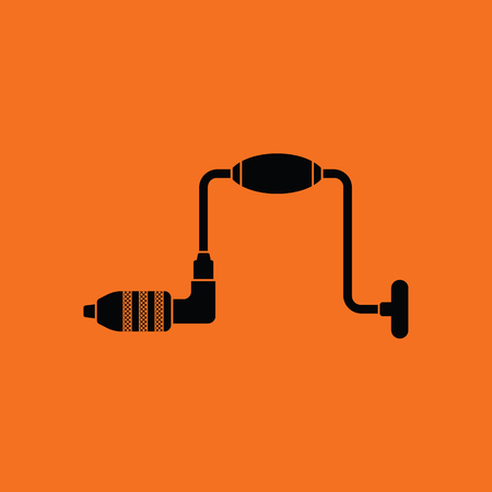 joinery: Auger icon. Orange background with black. Vector illustration.