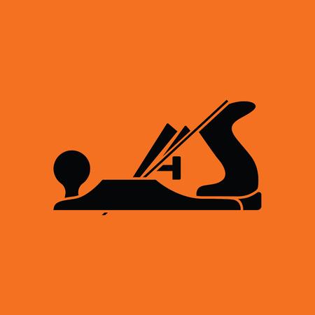 carpentry: Jack-plane tool icon. Orange background with black. Vector illustration.
