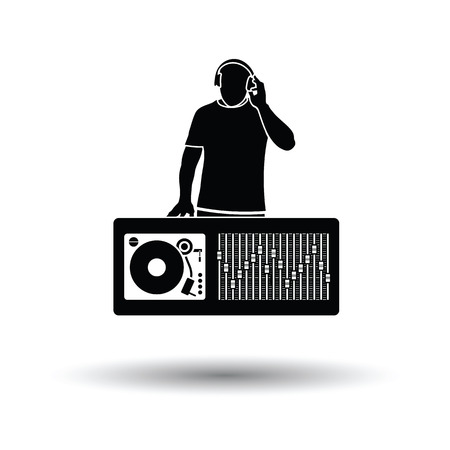 disk jockey: DJ icon. White background with shadow design. Vector illustration.