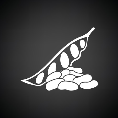 Beans  icon. Black background with white. Vector illustration.