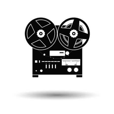 music machine: Reel tape recorder icon. White background with shadow design. Vector illustration.
