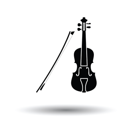 Violin icon. White background with shadow design. Vector illustration.