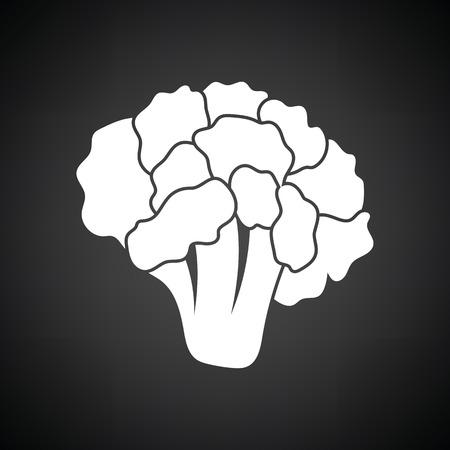 cauliflower: Cauliflower icon. Black background with white. Vector illustration.