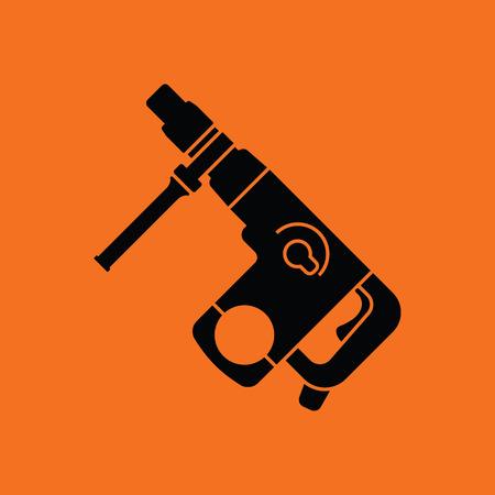 Electric perforator icon. Orange background with black. Vector illustration.