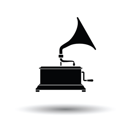 Gramophone icon. White background with shadow design. Vector illustration.