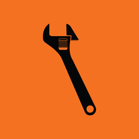 Adjustable wrench  icon. Orange background with black. Vector illustration.