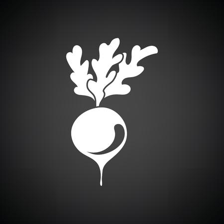 Radishes icon. Black background with white. Vector illustration.