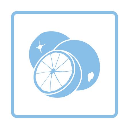citrous: Orange icon. Blue frame design. Vector illustration. Illustration
