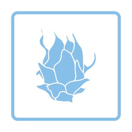 Dragon fruit icon. Blue frame design. Vector illustration.