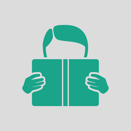 single story: Boy reading book icon. Gray background with green. Vector illustration. Illustration