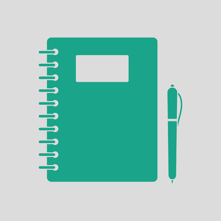 exercise book: Exercise book with pen icon. Gray background with green. Vector illustration.