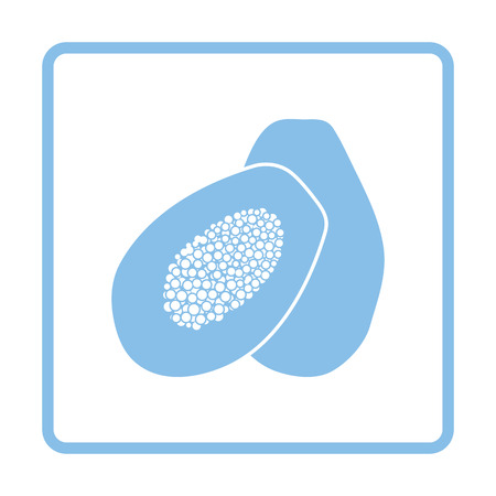 summer diet: Papaya icon. Blue frame design. Vector illustration.