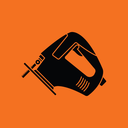 Jigsaw icon. Orange background with black. Vector illustration.