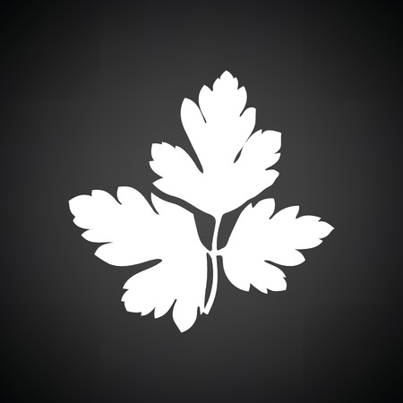 vegetable gardening: Parsley icon. Black background with white. Vector illustration.