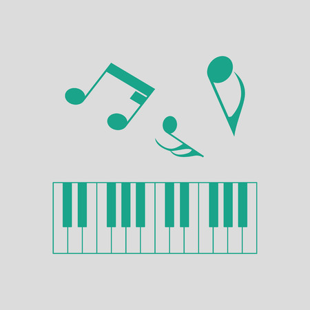 octaves: Piano keyboard icon. Gray background with green. Vector illustration.