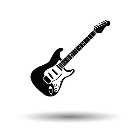 guitars: Electric guitar icon. White background with shadow design. Vector illustration.
