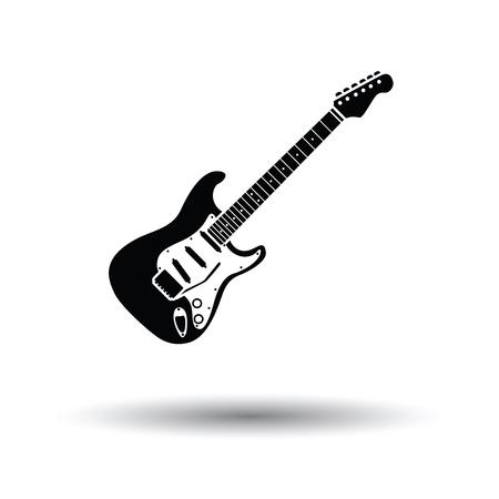 guitarra: icono de la guitarra eléctrica. Fondo blanco con el diseño de la sombra. Ilustración del vector. Vectores