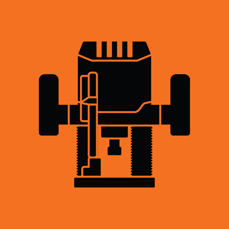 steel mill: Plunger milling cutter icon. Orange background with black. Vector illustration.