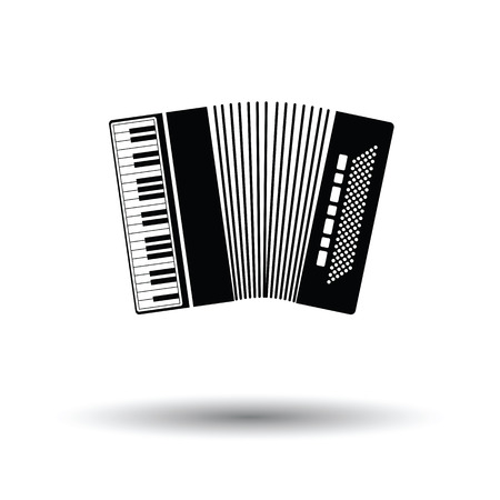 concertina: Accordion icon. White background with shadow design. Vector illustration. Illustration