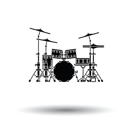 Drumstel icoon. Witte achtergrond met schaduw design. Vector illustratie.