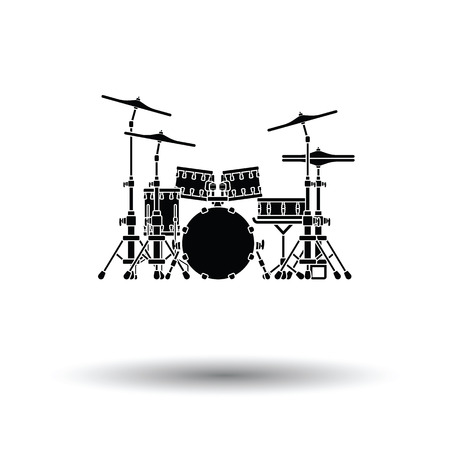 Drum set icon. White background with shadow design. Vector illustration.
