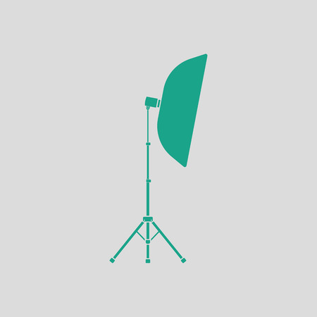 softbox: Icon of softbox light. Gray background with green. Vector illustration.