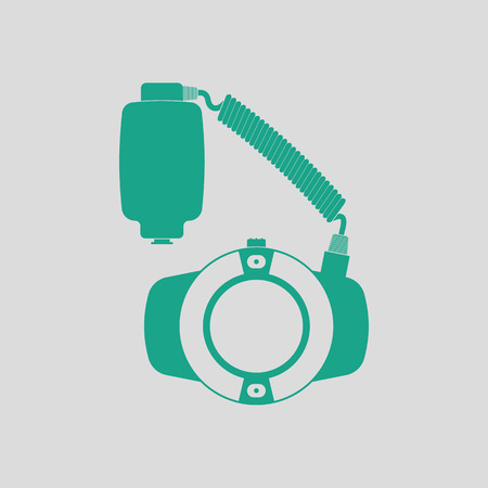 alone person: Icon of portable circle macro flash. Gray background with green. Vector illustration.