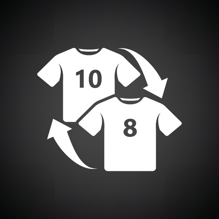 replace: Soccer replace icon. Black background with white. Vector illustration. Illustration
