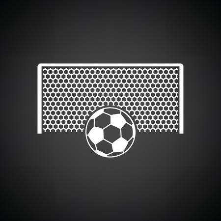 ball point: Soccer gate with ball on penalty point  icon. Black background with white. Vector illustration. Illustration