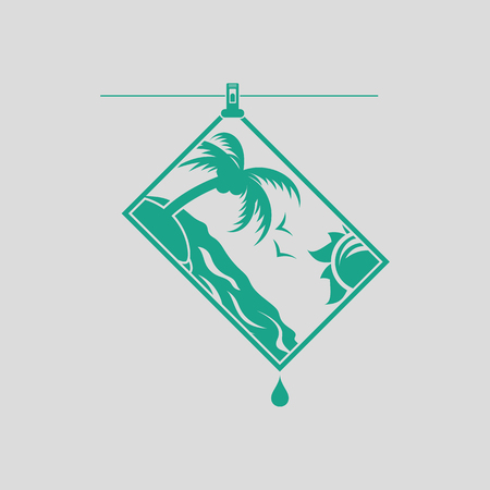 Icon of photograph drying on rope. Gray background with green. Vector illustration. Illustration