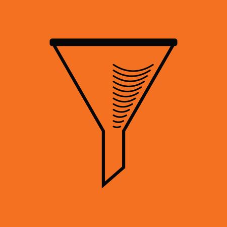Icon of chemistry filler cone. Orange background with black. Vector illustration. Illustration