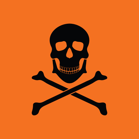 Icon of poison from skill and bones. Orange background with black. Vector illustration.