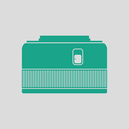 stabilizer: Icon of photo camera 50 mm lens. Gray background with green. Vector illustration.