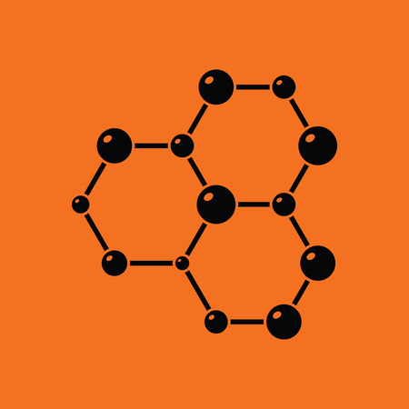 Icon of chemistry hexa connection of atoms. Orange background with black. Vector illustration. Illustration