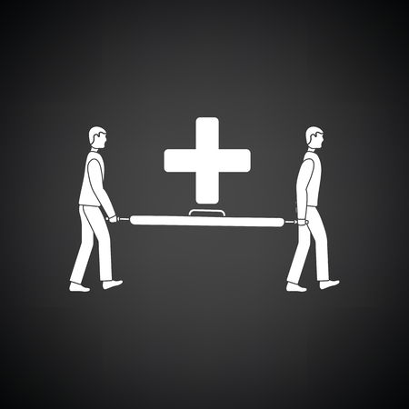 injuries: Soccer medical staff carrying stretcher icon. Black background with white. Vector illustration.